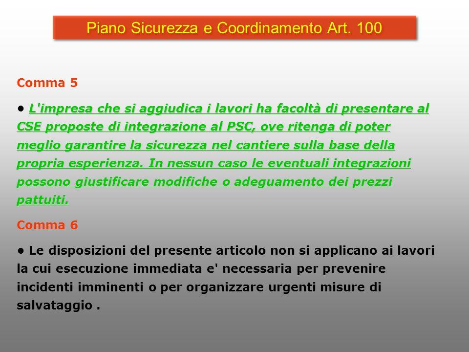 Piano Sicurezza e Coordinamento Art. 100