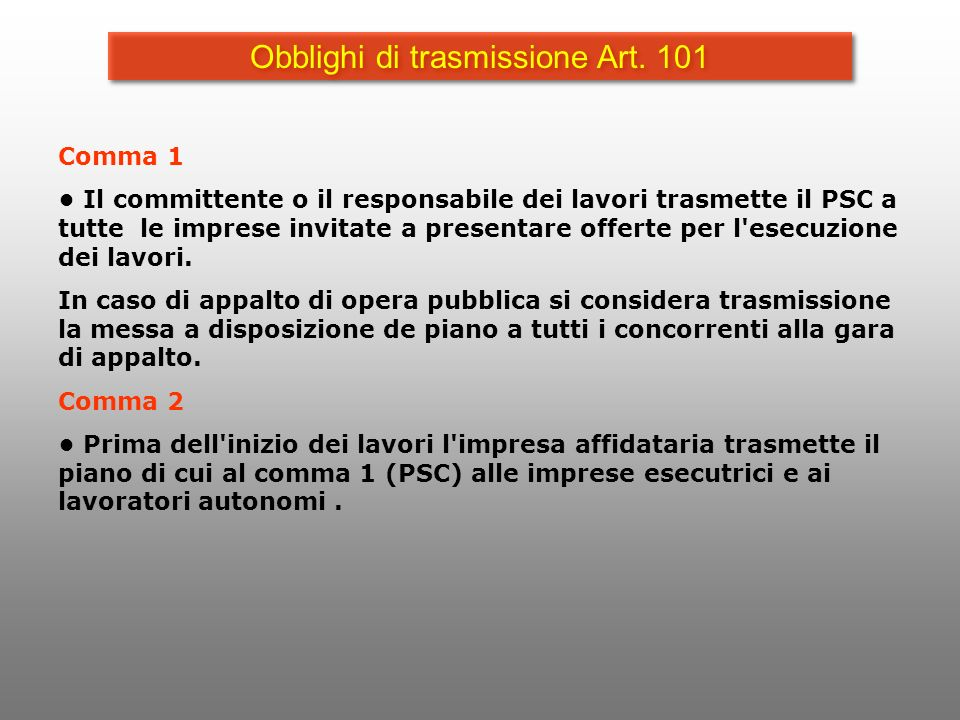Obblighi di trasmissione Art. 101