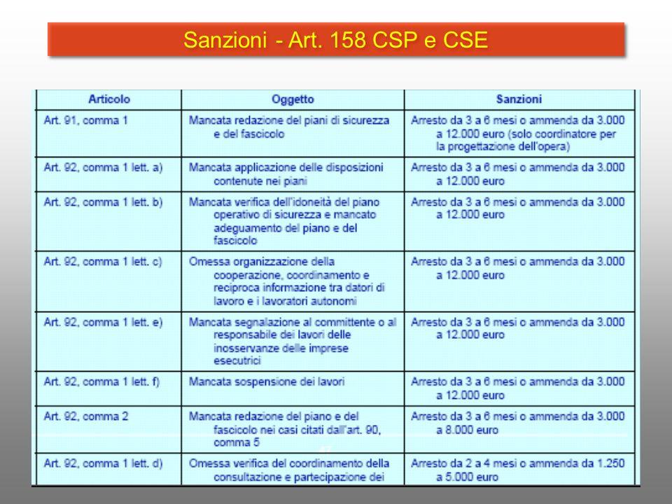 Sanzioni - Art. 158 CSP e CSE