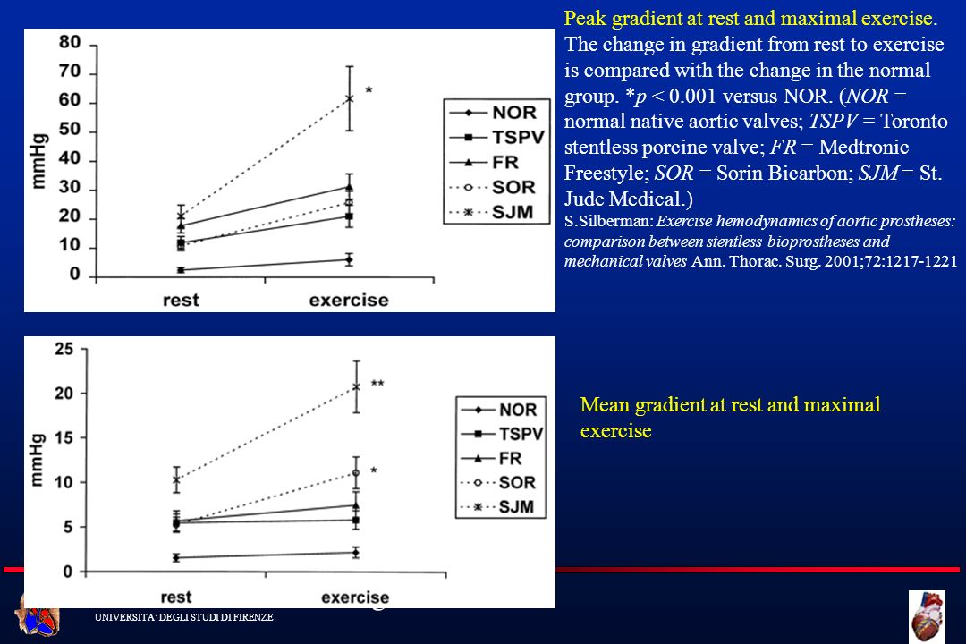 Mean gradient at rest and maximal exercise