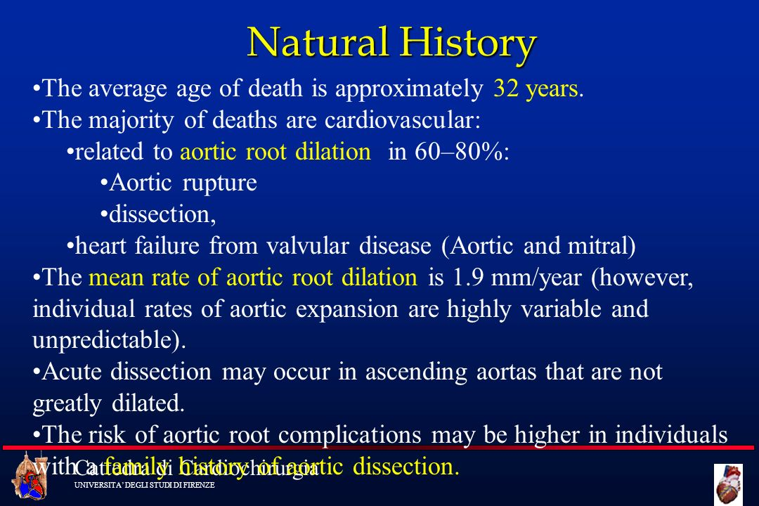 Natural History The average age of death is approximately 32 years.