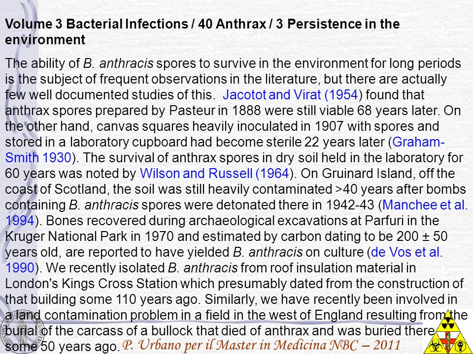 Volume 3 Bacterial Infections / 40 Anthrax / 3 Persistence in the environment