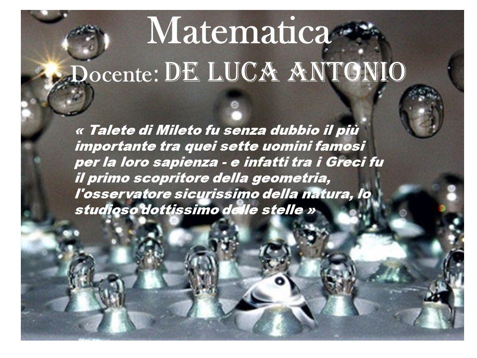 Matematica Docente: De Luca Antonio