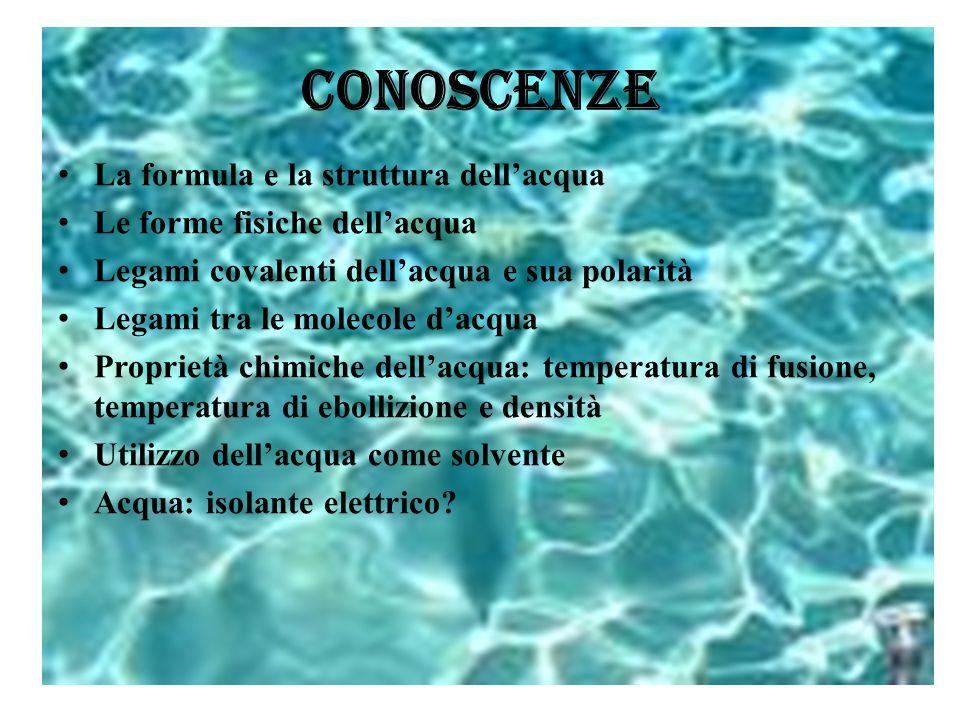 CONOSCENZE La formula e la struttura dell'acqua
