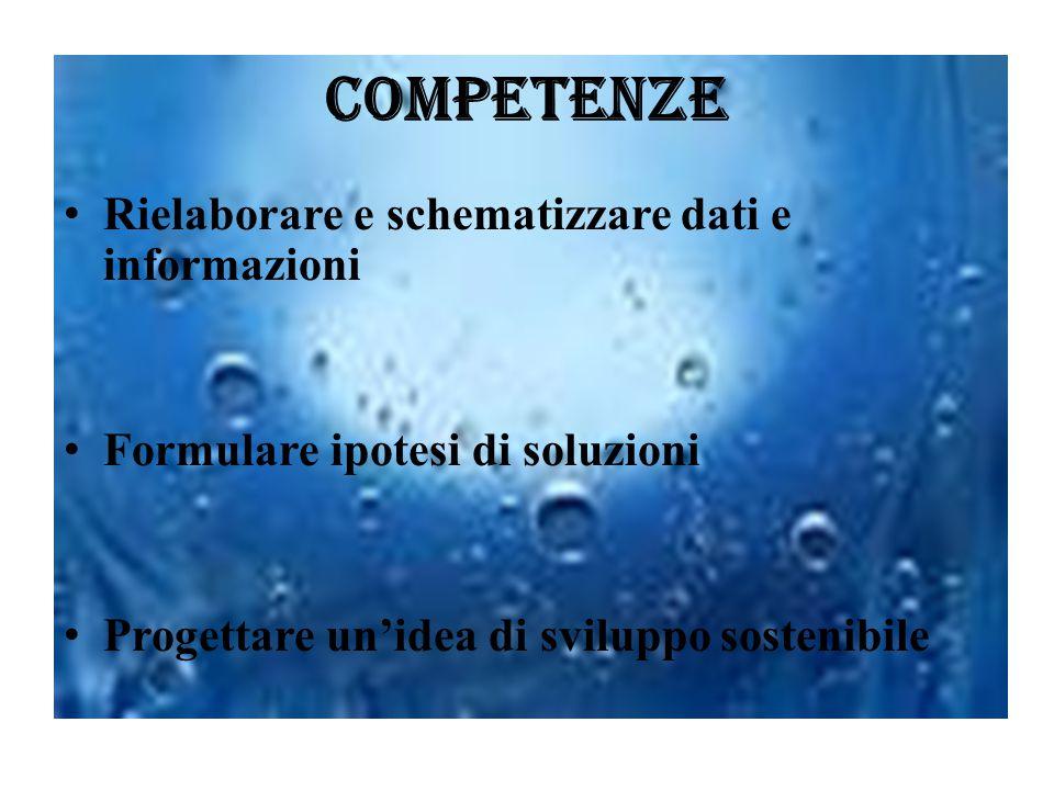 Competenze Rielaborare e schematizzare dati e informazioni