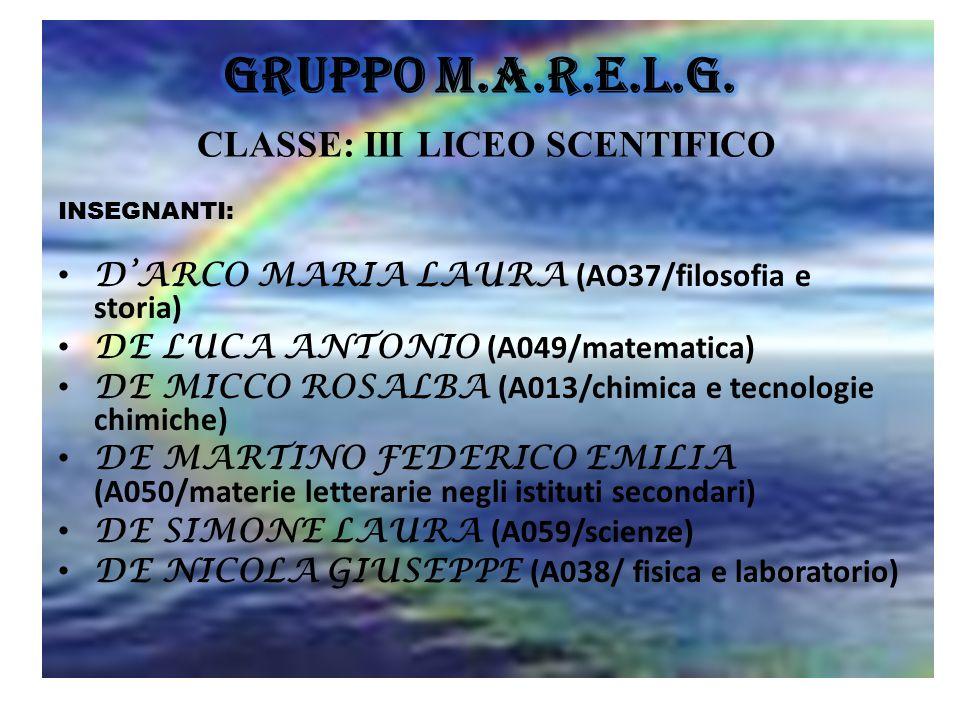 Gruppo M.A.R.E.L.G. CLASSE: III LICEO SCENTIFICO