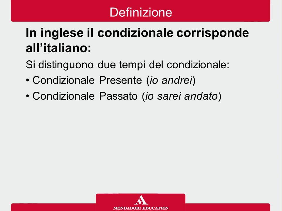 In inglese il condizionale corrisponde all'italiano: