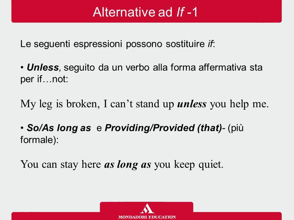Alternative ad If -1 Le seguenti espressioni possono sostituire if: Unless, seguito da un verbo alla forma affermativa sta per if…not:
