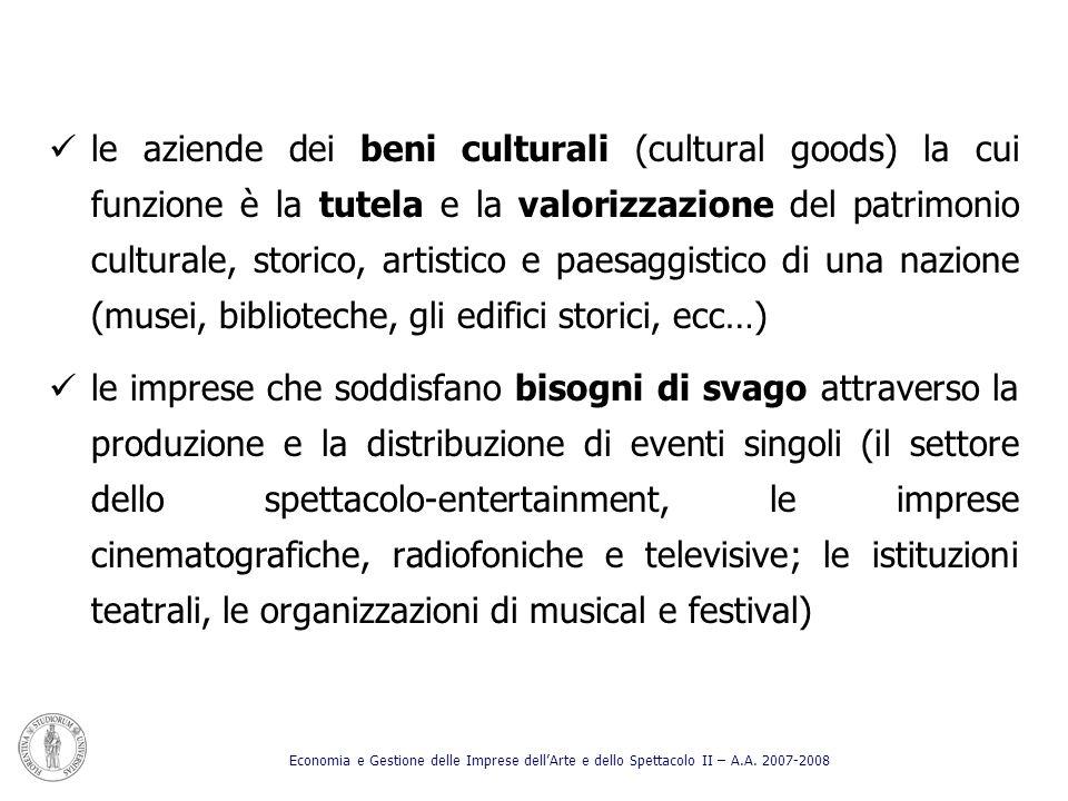 le aziende dei beni culturali (cultural goods) la cui funzione è la tutela e la valorizzazione del patrimonio culturale, storico, artistico e paesaggistico di una nazione (musei, biblioteche, gli edifici storici, ecc…)