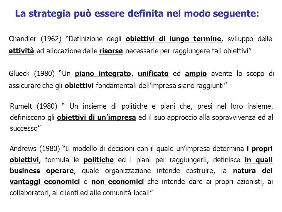 La strategia può essere definita nel modo seguente: