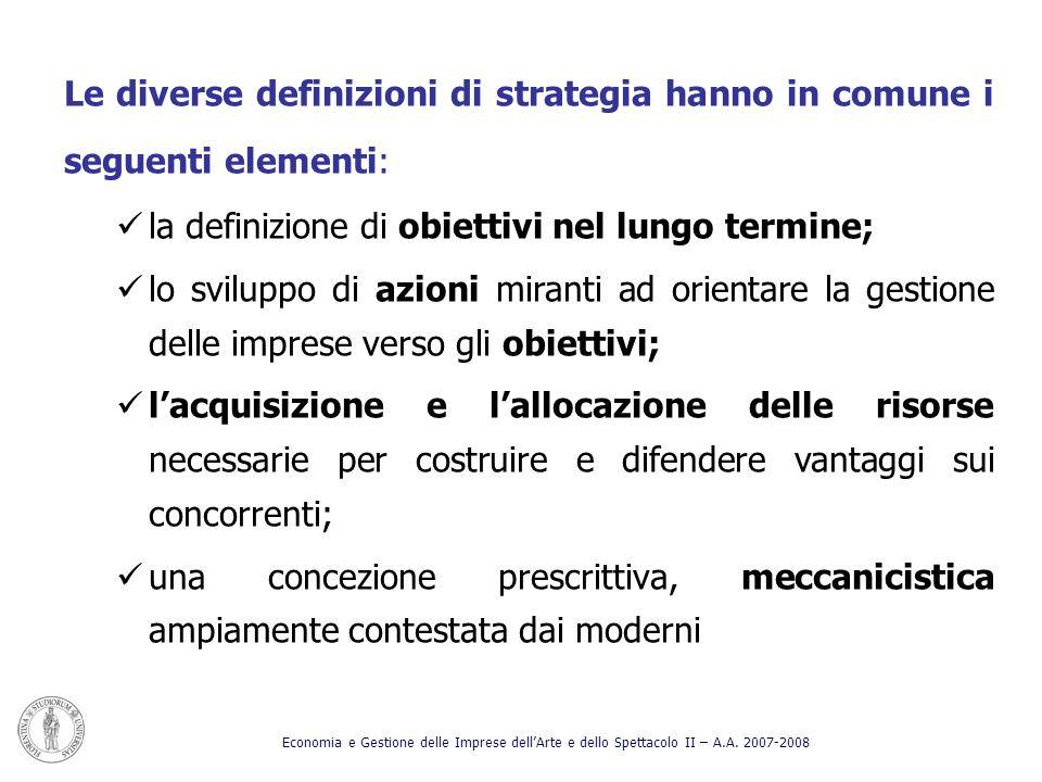 la definizione di obiettivi nel lungo termine;