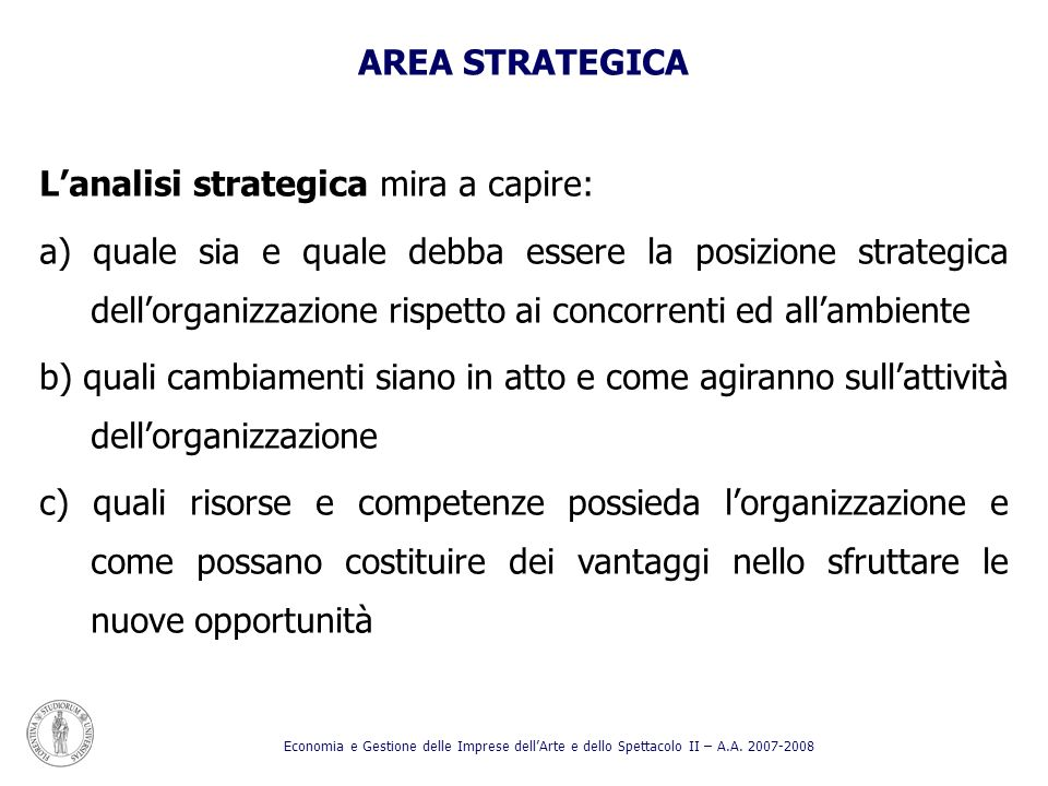 L'analisi strategica mira a capire: