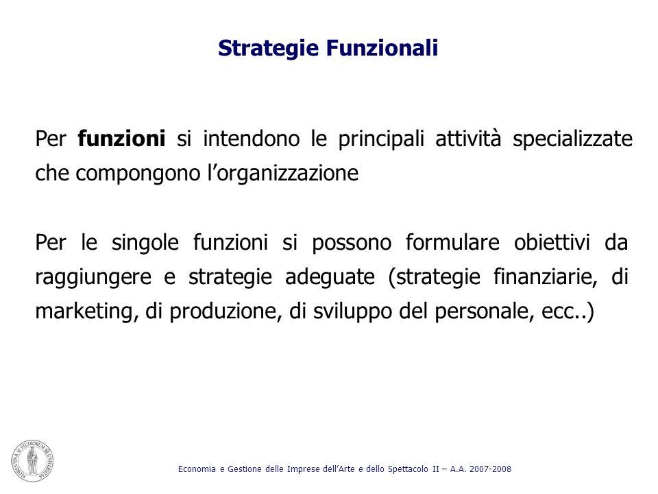 Strategie Funzionali Per funzioni si intendono le principali attività specializzate che compongono l'organizzazione.