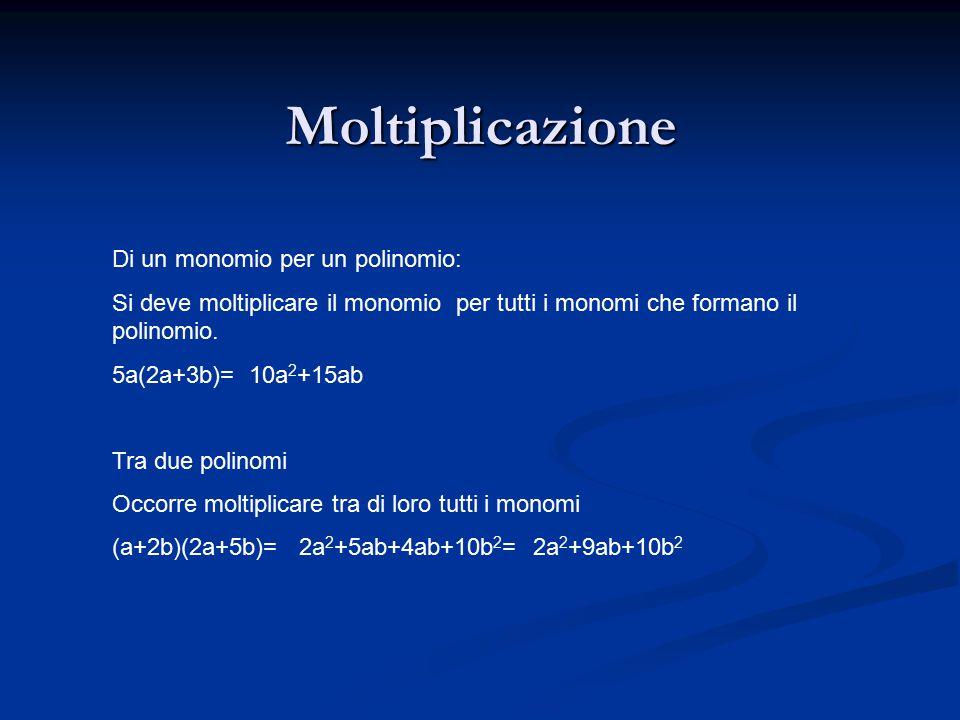 Moltiplicazione Di un monomio per un polinomio: