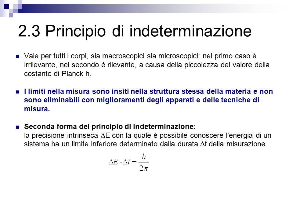 2.3 Principio di indeterminazione