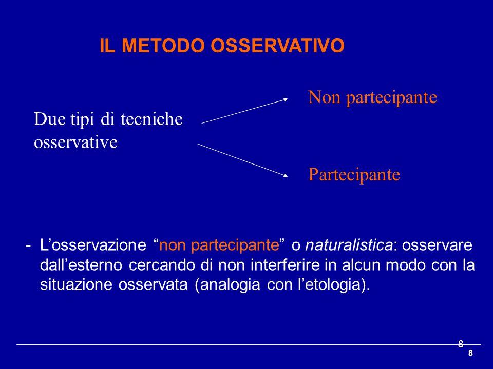 Due tipi di tecniche osservative Non partecipante