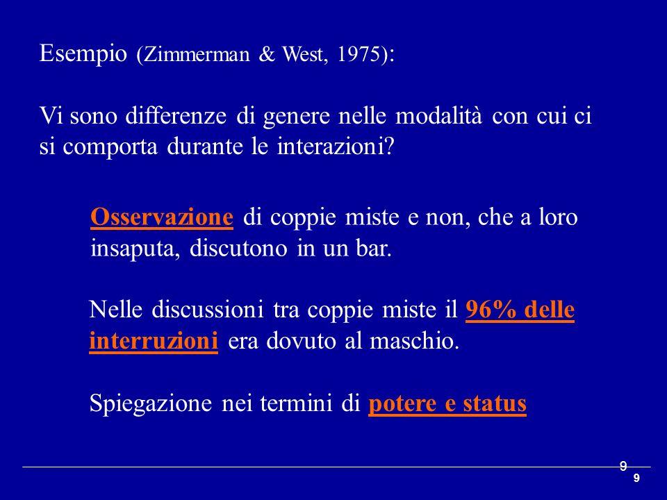 Esempio (Zimmerman & West, 1975):