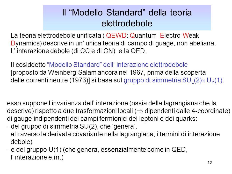 Il Modello Standard della teoria elettrodebole