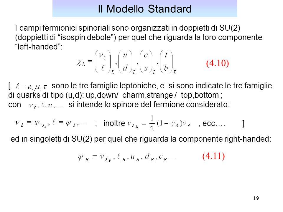 Il Modello Standard (4.10) (4.11)
