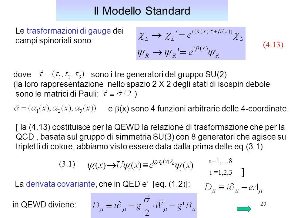 Il Modello Standard a=1,…8 Le trasformazioni di gauge dei