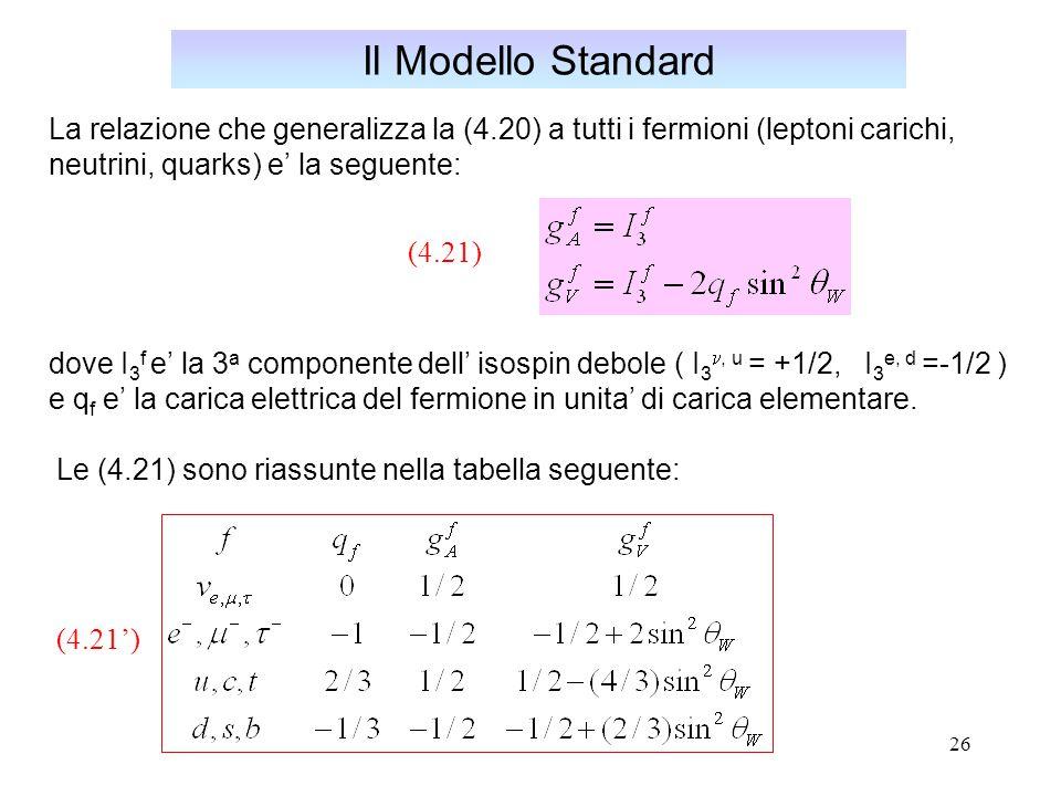 Il Modello Standard La relazione che generalizza la (4.20) a tutti i fermioni (leptoni carichi, neutrini, quarks) e' la seguente: