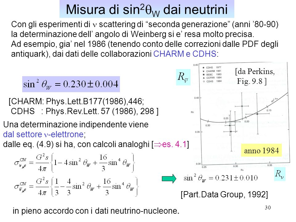 Misura di sin2qW dai neutrini