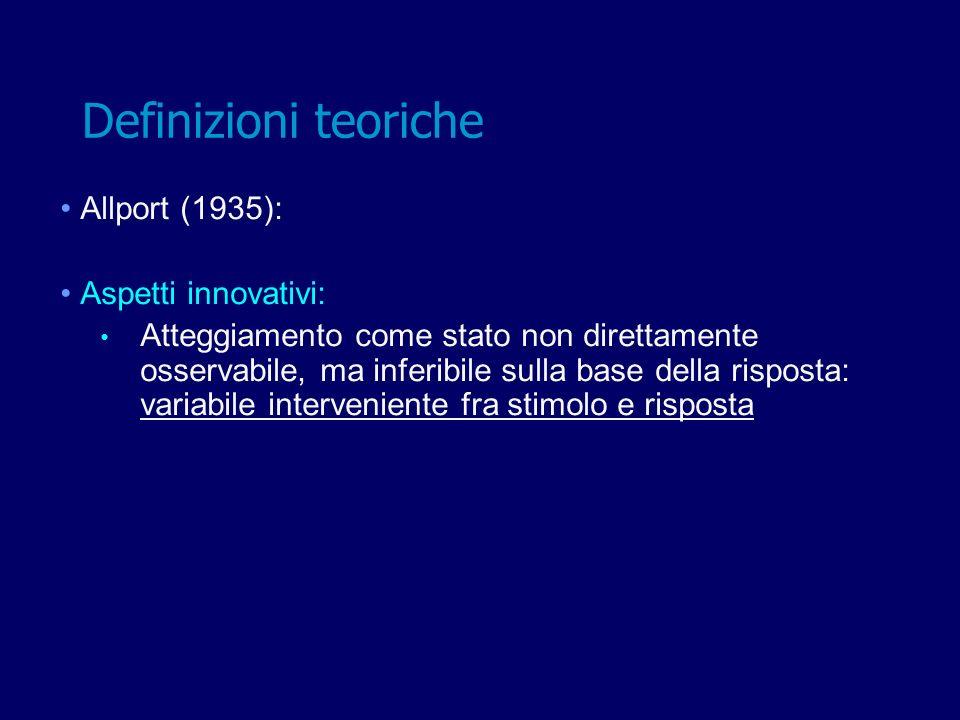 Definizioni teoriche Allport (1935): Aspetti innovativi: