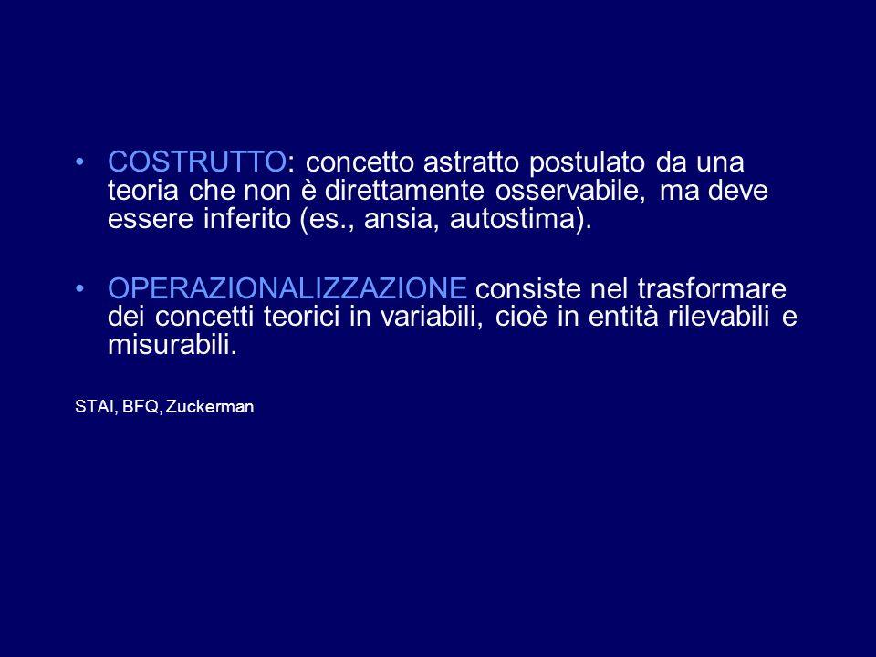 COSTRUTTO: concetto astratto postulato da una teoria che non è direttamente osservabile, ma deve essere inferito (es., ansia, autostima).