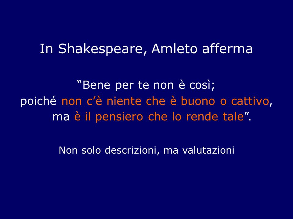 In Shakespeare, Amleto afferma