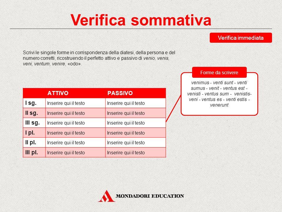 Verifica sommativa Verifica immediata ATTIVO PASSIVO I sg. II sg.