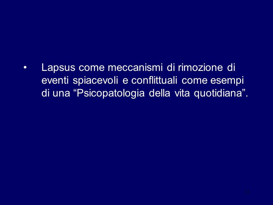 Lapsus come meccanismi di rimozione di eventi spiacevoli e conflittuali come esempi di una Psicopatologia della vita quotidiana .
