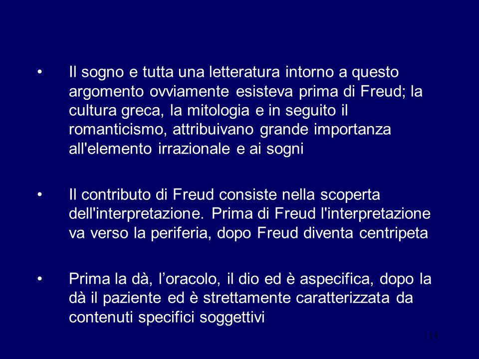 Il sogno e tutta una letteratura intorno a questo argomento ovviamente esisteva prima di Freud; la cultura greca, la mitologia e in seguito il romanticismo, attribuivano grande importanza all elemento irrazionale e ai sogni