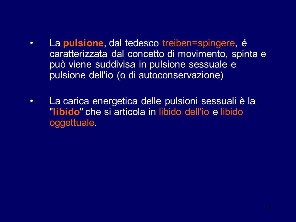 La pulsione, dal tedesco treiben=spingere, é caratterizzata dal concetto di movimento, spinta e può viene suddivisa in pulsione sessuale e pulsione dell io (o di autoconservazione)