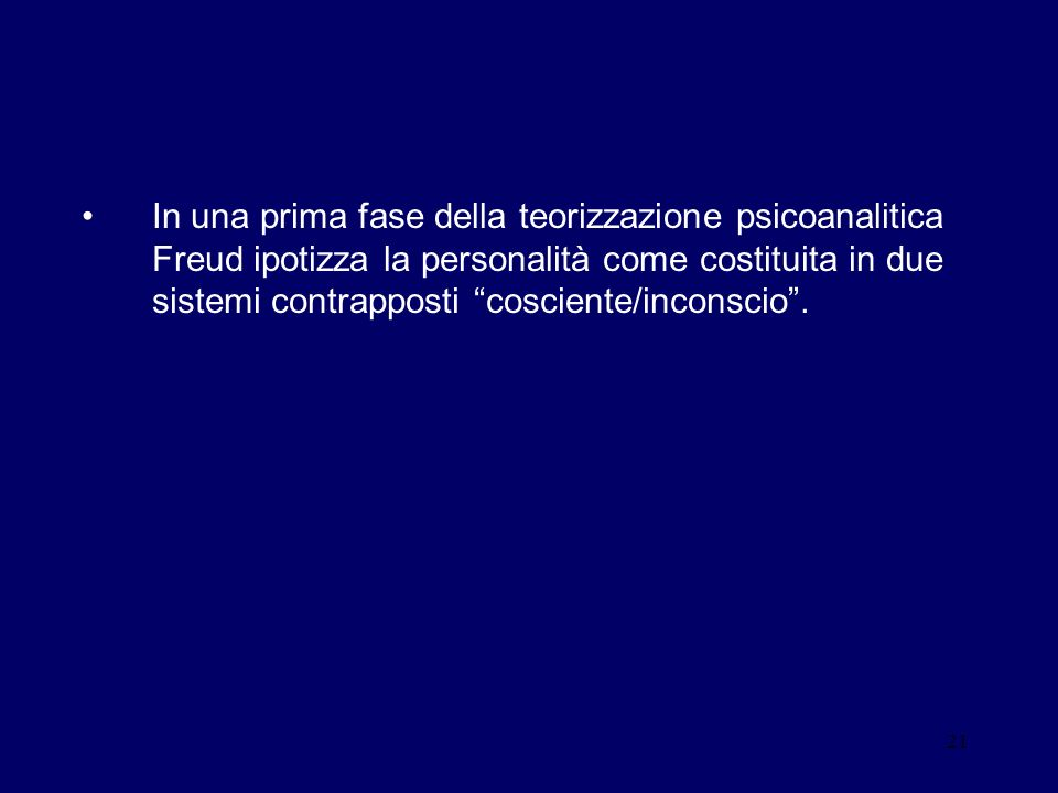 In una prima fase della teorizzazione psicoanalitica Freud ipotizza la personalità come costituita in due sistemi contrapposti cosciente/inconscio .