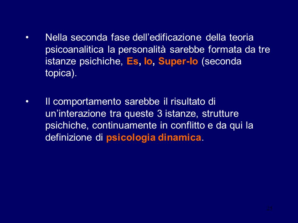 Nella seconda fase dell'edificazione della teoria psicoanalitica la personalità sarebbe formata da tre istanze psichiche, Es, Io, Super-Io (seconda topica).
