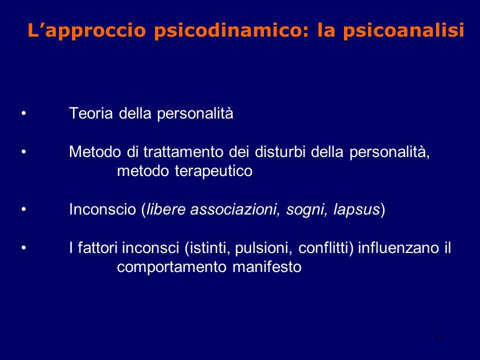 L'approccio psicodinamico: la psicoanalisi