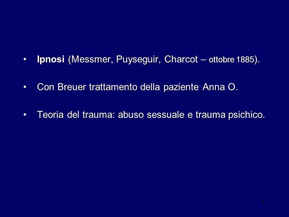 Ipnosi (Messmer, Puyseguir, Charcot – ottobre 1885).