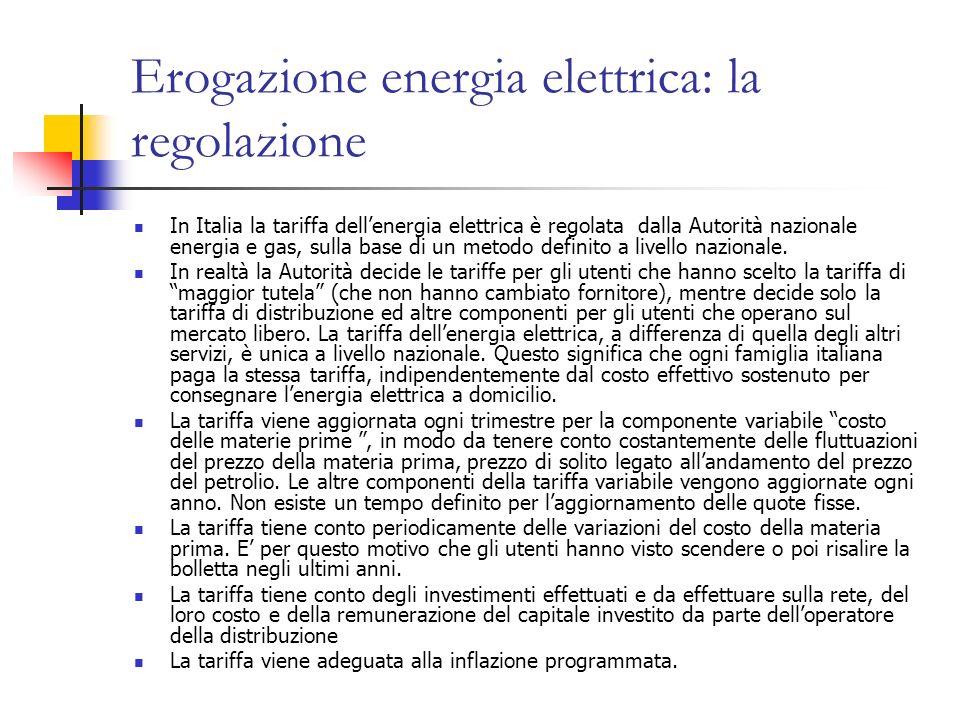 Erogazione energia elettrica: la regolazione