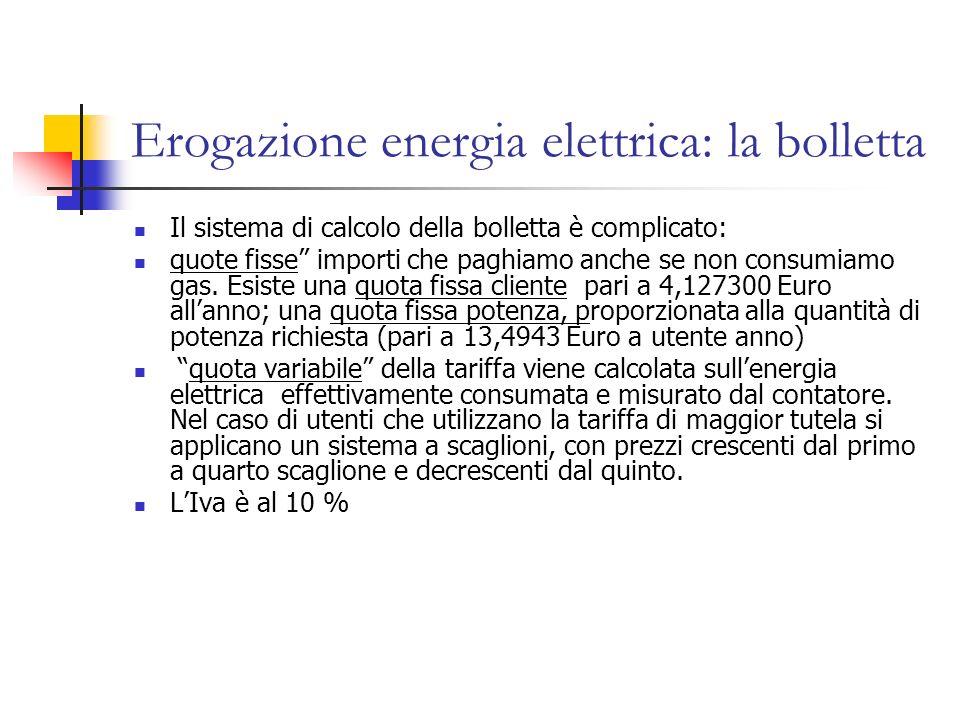Erogazione energia elettrica: la bolletta