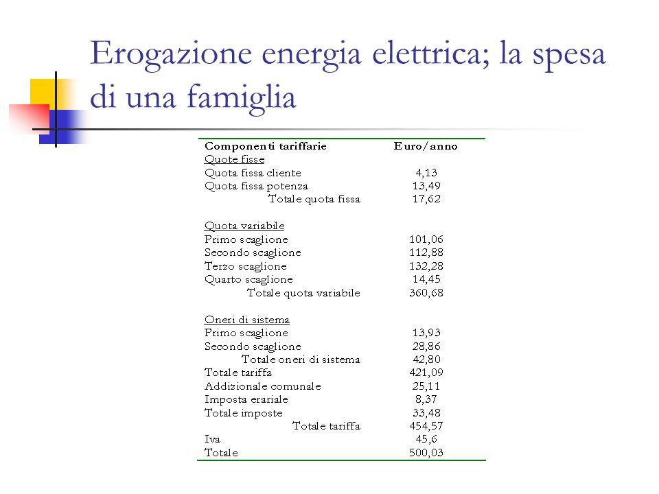 Erogazione energia elettrica; la spesa di una famiglia