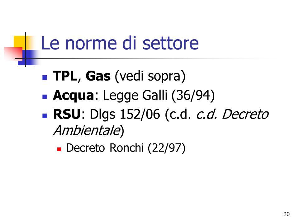 Le norme di settore TPL, Gas (vedi sopra) Acqua: Legge Galli (36/94)