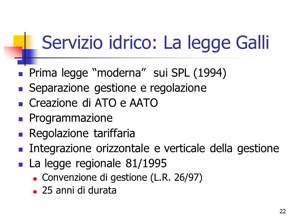 Servizio idrico: La legge Galli