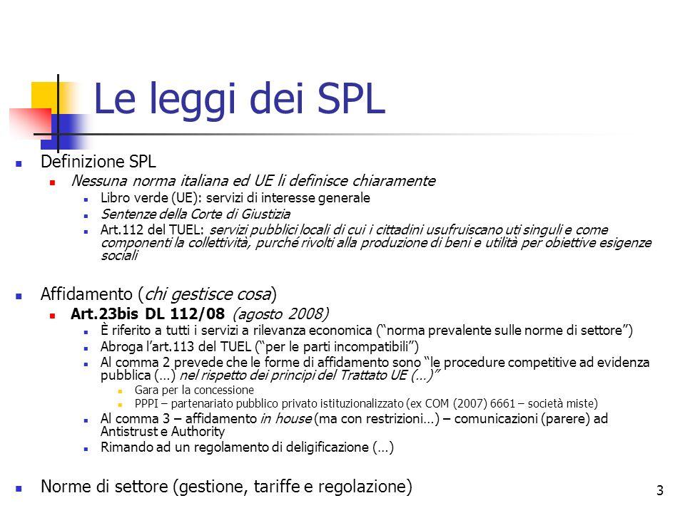 Le leggi dei SPL Definizione SPL Affidamento (chi gestisce cosa)