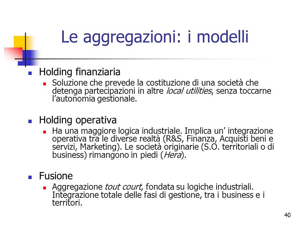 Le aggregazioni: i modelli