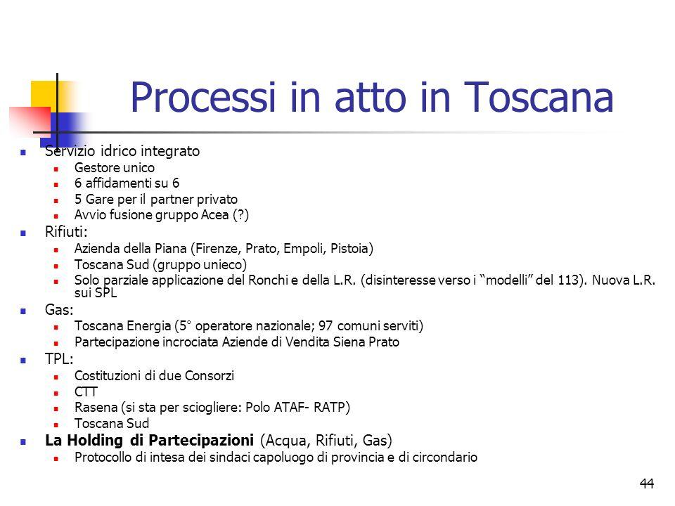 Processi in atto in Toscana
