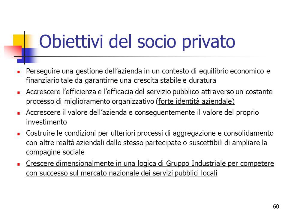Obiettivi del socio privato