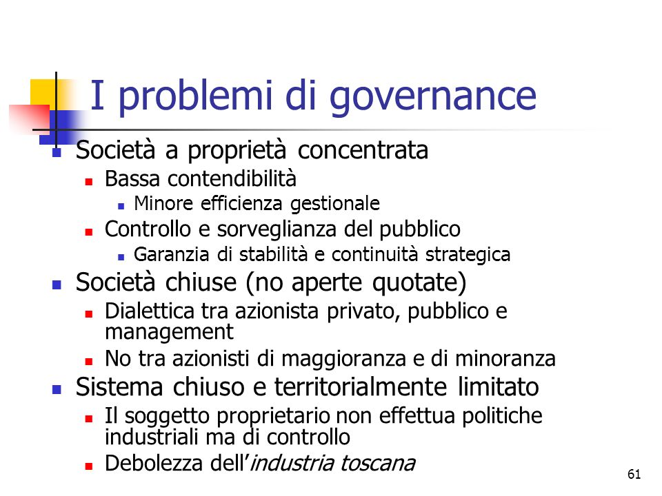 I problemi di governance