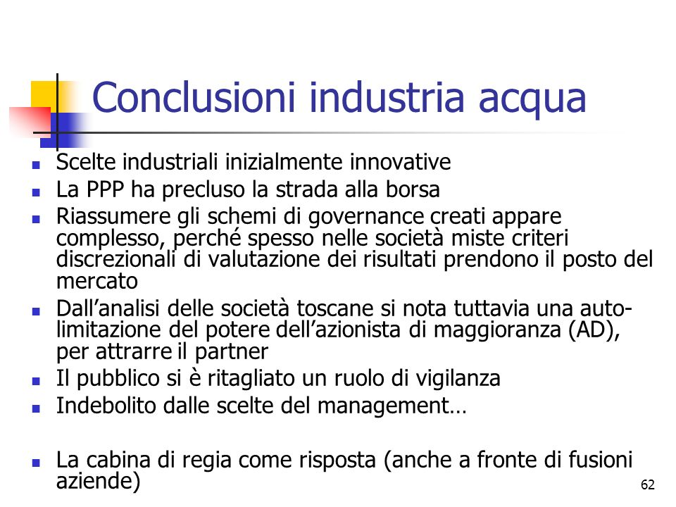 Conclusioni industria acqua