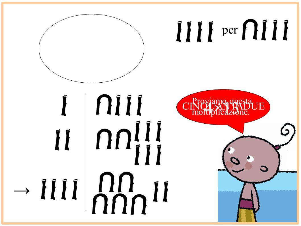per Proviamo questa moltiplicazione. 4×13 CINQUANTADUE →