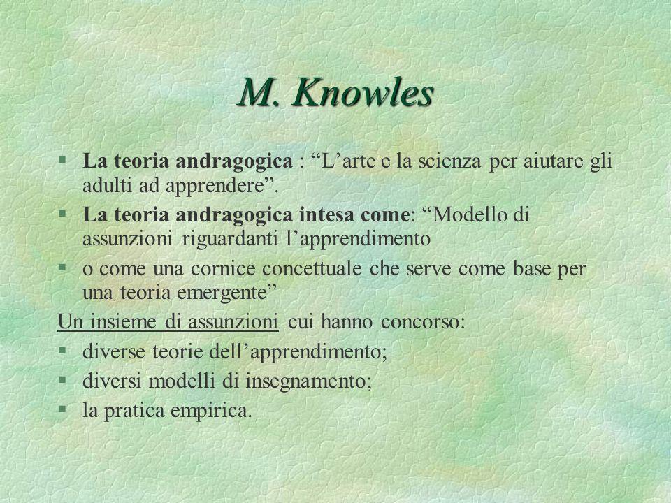 M. Knowles La teoria andragogica : L'arte e la scienza per aiutare gli adulti ad apprendere .